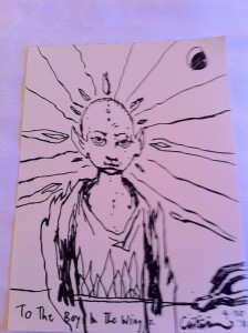 """Not a great photo of it, but this is a drawing Clive Barker did of baby Joey (name was undecided at the time, so he was """"The Boy In The Wings"""". It's a striking resemblance. :)"""
